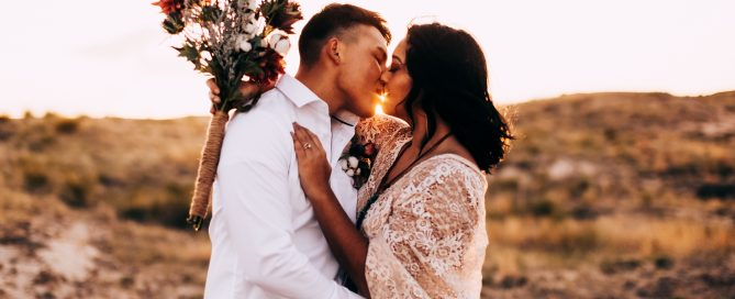 A couple eloping in a beautiful outdoor setting